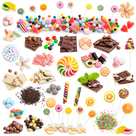 Collage of white and milk chocolate and candies isolated on white background Foto de archivo