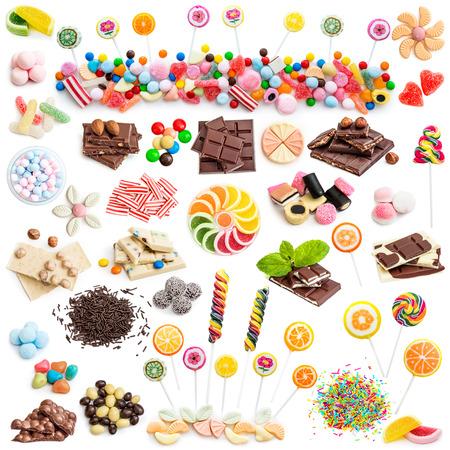Collage von Weiß und Milchschokolade und Süßigkeiten isoliert auf weißem Hintergrund