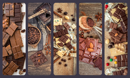 collage  photos of chocolate and candies on a wooden background Banco de Imagens