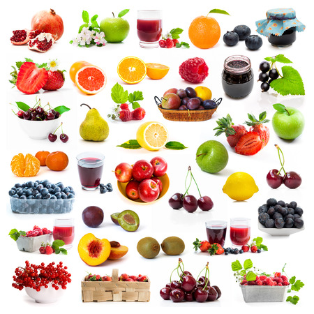 health collage: collage of fresh berries and fruits on white background