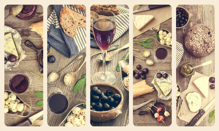 French cuisine collage. Different types of cheese, wine and other ingredients on a wooden table