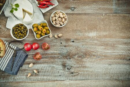 pistachios: National Spanish tapas on a wooden background Stock Photo