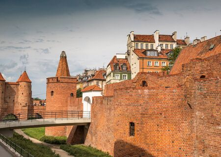 outpost: Barbican - Fortified medieval outpost in Warsaw, Poland. Summer time.