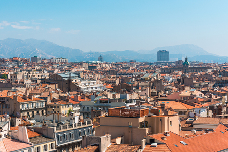 marcelle: the amazing areal view on Marseille, France Stock Photo