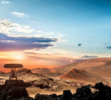 火山と溶岩砂漠。ランサローテ島、カナリア諸島