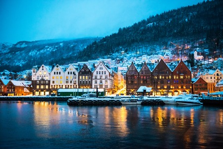 norway: night view on Bruges. Bergen Norway Stock Photo