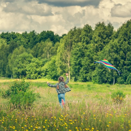 cute girl with long hair: little cute girl flying a kite in a meadow on a sunny day. back view Stock Photo