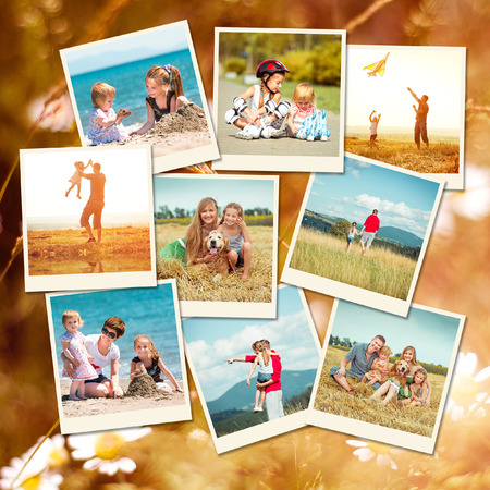 summer dog: photo collage of family on vacation Stock Photo