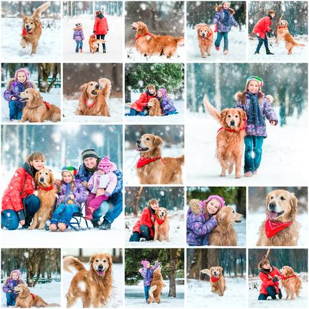 가족: 겨울의 사진 콜라주 아이들과 강아지와 함께 산책
