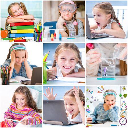 ni�os en la escuela: collage de fotos de la ni�a que dibuja y hace experimentos qu�micos Foto de archivo