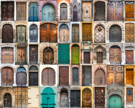 many windows: collage photos of doors on the old districts of Europe