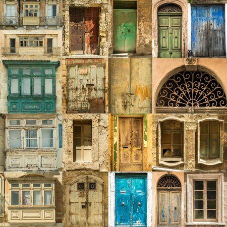 windows and doors: collage  photos of old windows doors and balconies on Malta