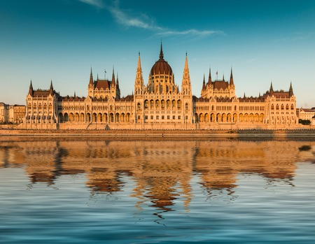 Budapest parliament at the sunset. Front view Stok Fotoğraf