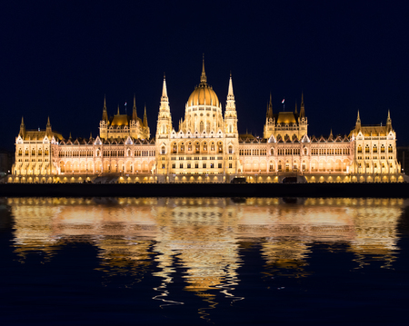 famous building: Famous building of Parliament at night, Budapest, Hungary