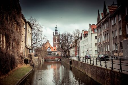 molino de agua: canal and old historic buildings in the old town of Gdansk, Poland