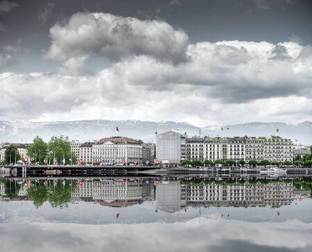 leman: view of city of Geneva, the Leman Lake in Switzerland, Europe Stock Photo
