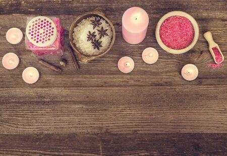 beauty products: Composition of spa treatment on the wooden table Stock Photo