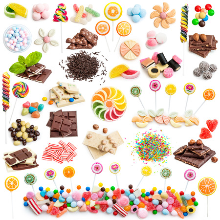 Collage of white and milk chocolate and candies isolated on white background Banque d'images