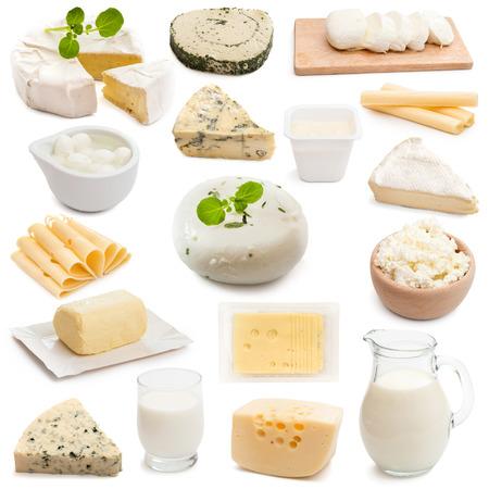 lacteos: productos lácteos colección collage sobre un fondo blanco Foto de archivo