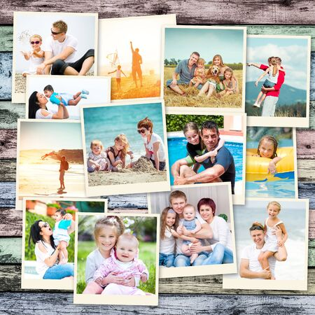 niños felices: foto collage felices padres con niños en vacaciones