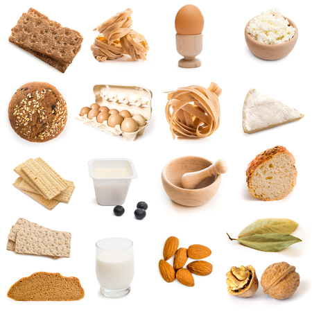 chese: fitness products collage in brown color isolated on white background Stock Photo