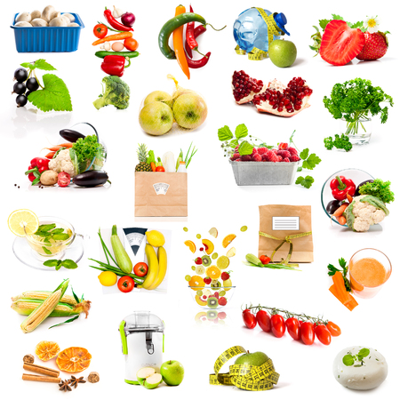chese: fruits and vegetables collage isolated on white background Stock Photo