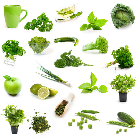 green products collage isolated on white background Stock Photo