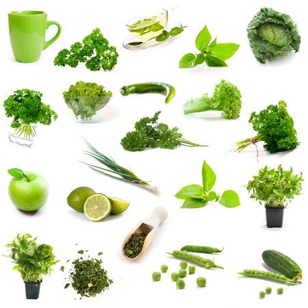 Groene producten collage geïsoleerd op een witte achtergrond Stockfoto