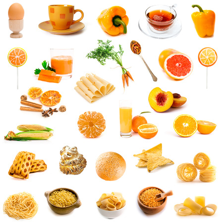 chese: orange and yellow color products collage isolated on white background