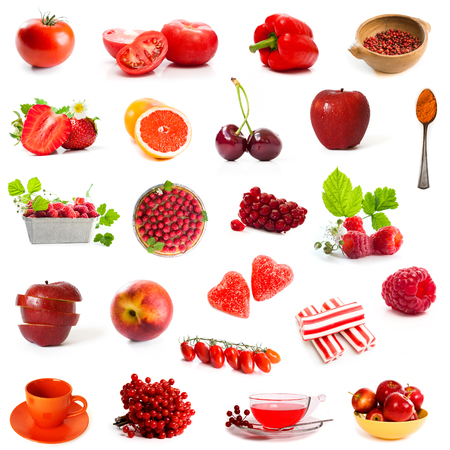 jujube fruits: red products collage isolated on white background