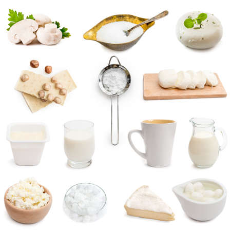 chese: white color products collage isolated on white background Stock Photo