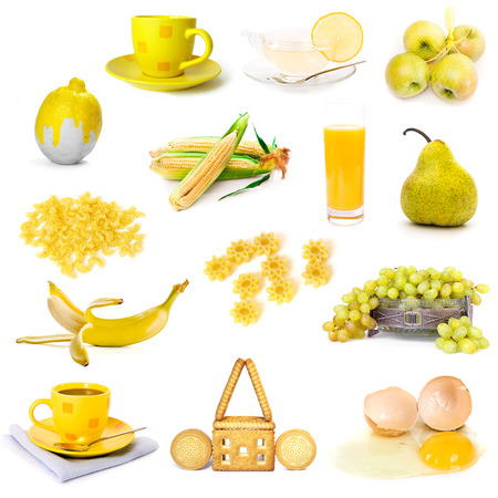 bisquit: yellow color products collage isolated on white background Stock Photo