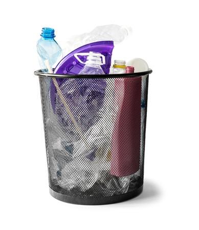 waste basket: basket with plastic waste isolated on white background