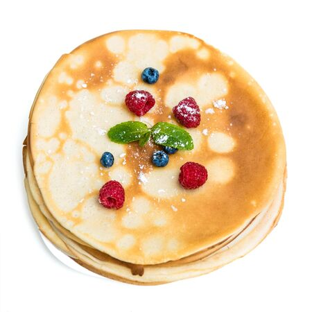 pancake: pancakes with berries isolated on white background top view