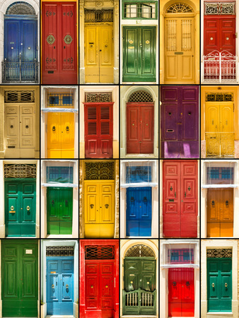 door handles: photo collage of colourful front doors to houses