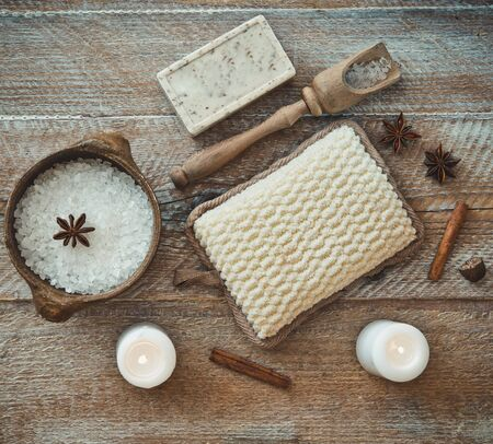cosmetic product: Composition of spa treatment on the wooden table Stock Photo