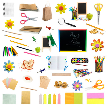 collage of different colorful childish stationery isolated on white background Stok Fotoğraf