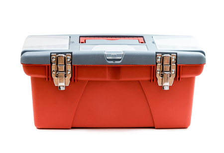 red box: Red plastic tool box. Isolated on white