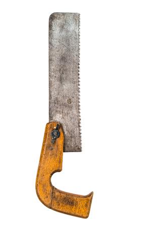 serrucho: retro mano transversal oxidado vio herramienta de sierra de mano aisladas sobre fondo blanco