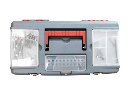 toolbox: plastic tool box. Isolated on white. top view Stock Photo