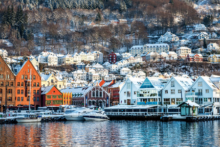 The historical part of the city in Bergen, Norway