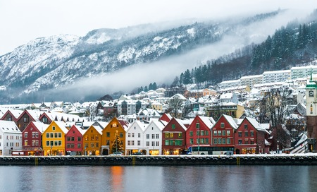 view of Bruges in Bergen, Norway Stock Photo