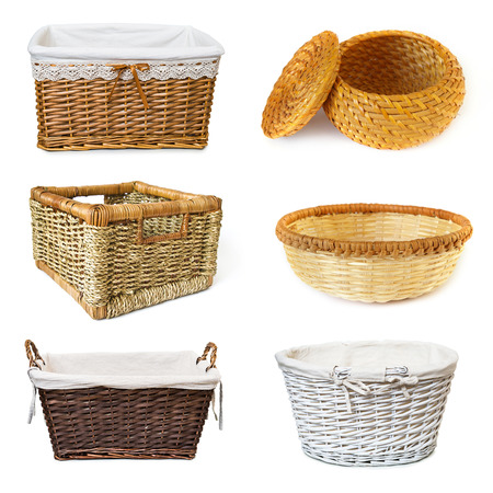 bast basket: collage with wickered baskets isolated on white background