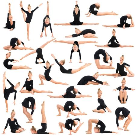 gimnasia: ni�a haciendo gimnasia en el fondo blanco Foto de archivo