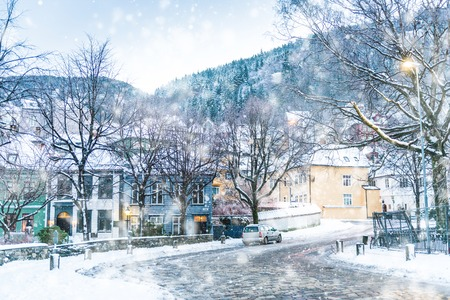 towns: The historical part of the city. Bergen, Norway Stock Photo