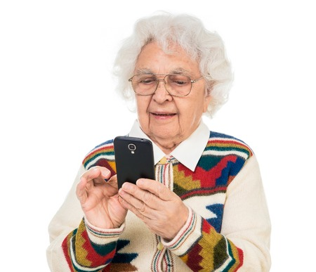 the great grandmother: elderly woman using smartphone over white background