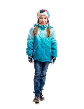 holčička v teplém oblečení na bílém pozadí Reklamní fotografie