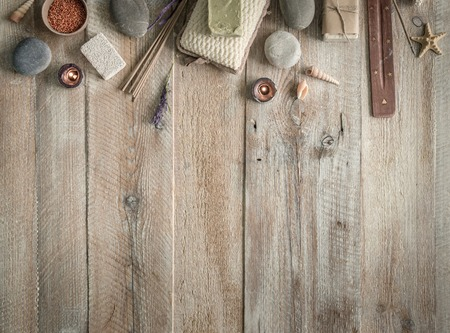 Composition of spa treatment items on the wooden table with space for text. Top view Stok Fotoğraf
