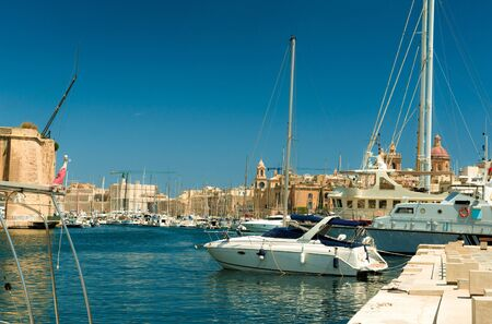 water transportation: The big harbor of the city Valetta, Malta with modern yachts