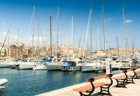 harbour: The big harbor of the city Valetta, Malta with modern yachts